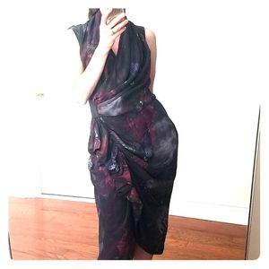 AllSaints Petrol Poison Hummingbird Silk Dress